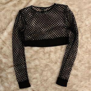 Mesh fishnet long sleeve crop top